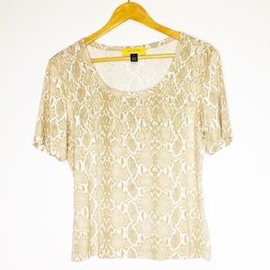 ST. JOHN Rayon Short Sleeve Blouse Top Snake Skin